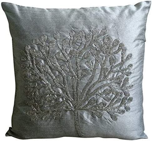Handmade Silver Euro Size Pillow Covers 26×26 inch 65×65 cm , Silk European Pillow Covers, Nature Floral, Tree, Beaded, Modern Euro Shams – The Silver Tree