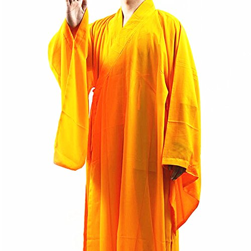 Buddhist Robe Meditation Long Gown Suit yellow XXL ()