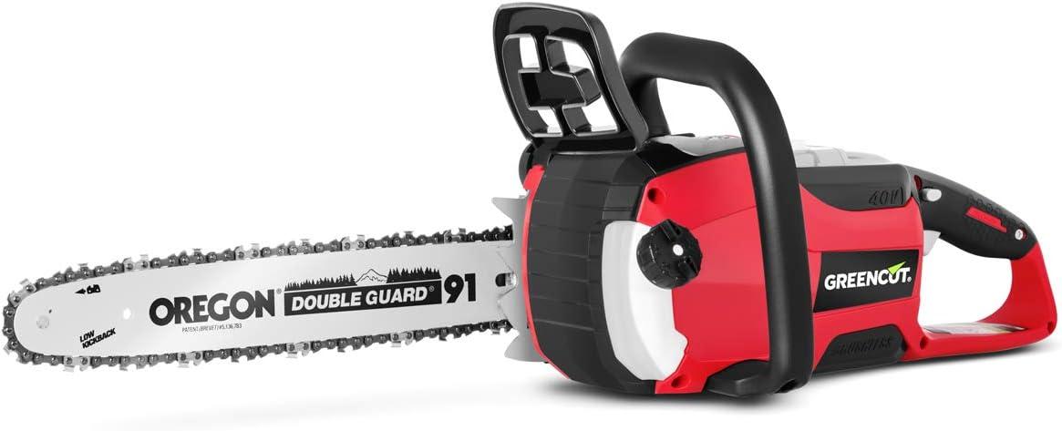 GREENCUT GS400L - Motosierra de batería de litio 40V para 2,0Ah/4,0Ah con espada de 14'' Oregon y velocidad de corte hasta 12 metros por segundo, Incluye funda de espada