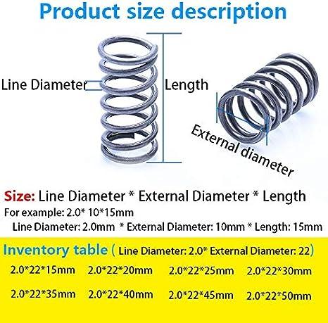 Diam/ètre ext/érieur 22mm Taille : 35mm 10pcs Pression ressort comprim/é ressort retracing Ligne ressort Diam/ètre 2,0 mm 10Pcs W-NUANJUN-SPRING longueur 15mm-50mm