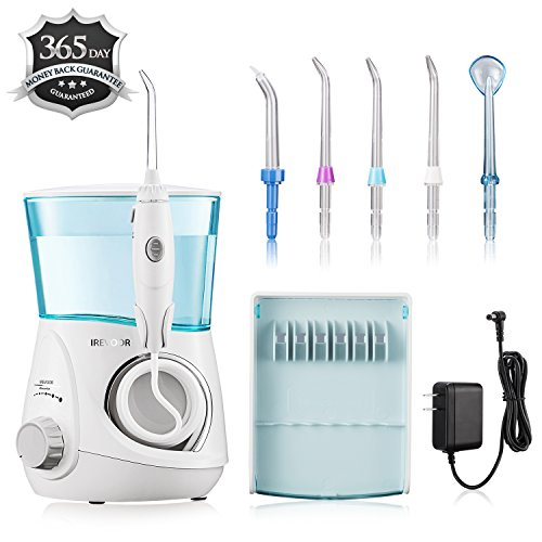 Aquarius Water Flosser IREVOOR Professional Dental Water Flosser Energy Saved 12 watt 110-240V Stepless Speed Change Oral Irrigator with 4 Jet Tips 1 Tongue Scraper for Family by IreVoor (Image #6)