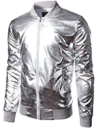 011a0e73d7a Mens Metallic Nightclub Styles Zip Up Varsity Baseball Bomber Jacket