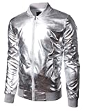 JOGAL Mens Metallic Nightclub Styles Zip up Varsity Baseball Bomber Jacket Medium Silver