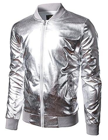 JOGAL Mens Metallic Nightclub Styles Zip Up Varsity Baseball Bomber Jacket Large Silver (Mens Metallic Silver Jacket)