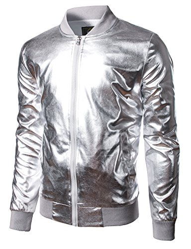 JOGAL Mens Metallic Nightclub Styles Zip up Varsity Baseball Bomber Jacket Medium Silver by JOGAL