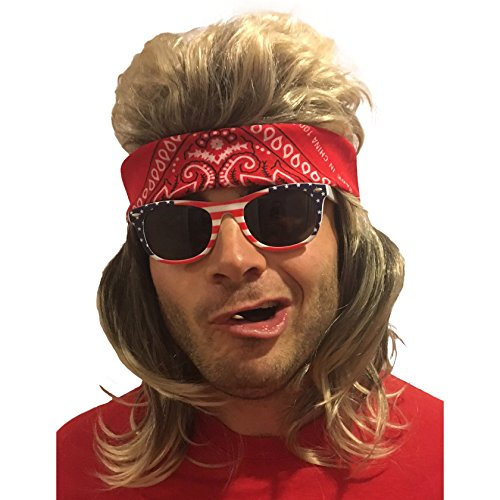 MULLET WIG, BANDANA & SUNGLASSES - Hillbilly Costume (Red Bandana & USA Sunglasses)
