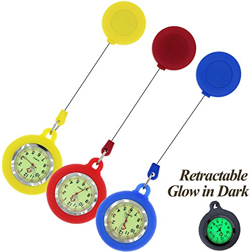 GetLucky Paramedic Luminous Nurse Fob Watch for Nurses Doctors, Nite Glow in Dark with Whole Dial & Pointer,Retractable Clip on Design (Blue Red ()