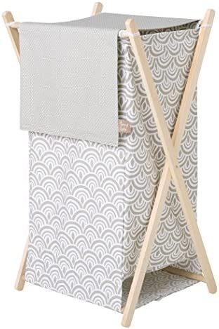 Trend Lab Art Deco Hamper Set, Gray, White