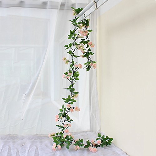 Htmeing-67-Inch-Silk-Rose-Garland-Artificial-Rose-Vine-with-Green-Ivy-Leaves-for-Home-Hanging-Wedding-DecorPack-of-2-Light-Pink