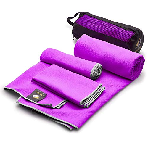 Set of 3 Microfiber Towels - Best For Gym Travel Camp Beach Backpacking Sports Outdoor Swim - Quick Dry Fast · Absorbent · Antimicrobial · Compact · Lightweight Men Women Gift Toiletry Bag (Purple) (Traveler Ultra Light Case)