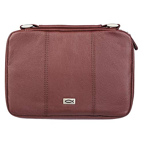 - Ichthus Full Grain Leather Bible Case in Russet Brown, Large
