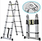 USA Premium Store 12.5FT Aluminum Extension Fully Extendable Telescopic Ladder Multi-purpose