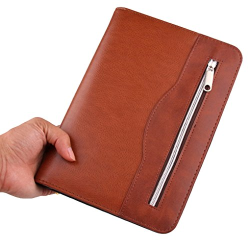 Gift for Business Men,SAYEEC A5 Executive Conference Folder Travel Portfolio Ringbinder Folio Zip Around PU Leather Loose Leaf Refillable Lined Paper Business Notebook Zipped Organiser with Calculator by SAYEEC