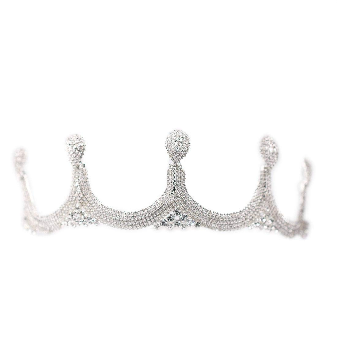 ZYDP Rhinestone Crown Wedding Dress Accessories Birthday Party Crown (Color : Silver) by ZYDP