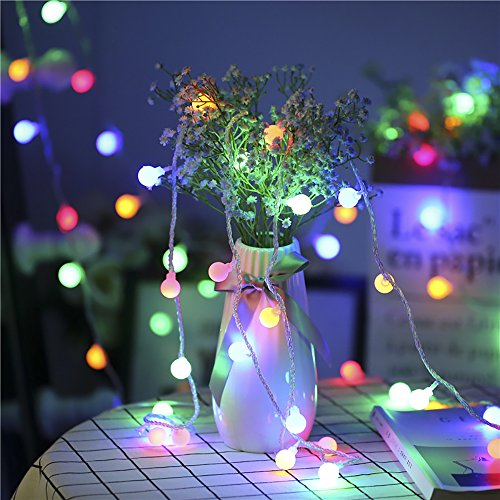 B-right Outdoor Globe String Lights, 100 LED 43.6ft Waterproof String Balls with 8 Modes Remote & Timer, 29V Safety Output UL Listed Power Adapter, Multi-Color by B-right (Image #6)
