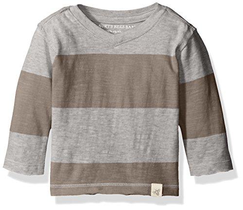 Burt's Bees Baby Boys' Organic High V Long Sleeve Tee Shirt, Charcoal Stripe, 6-9 Months