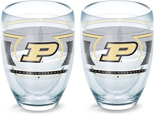 (Tervis 1230153 Purdue Boilermakers Reserve Insulated Tumbler with Wrap 2 Pack - Boxed, 9oz Stemless Wine Glass, Clear)