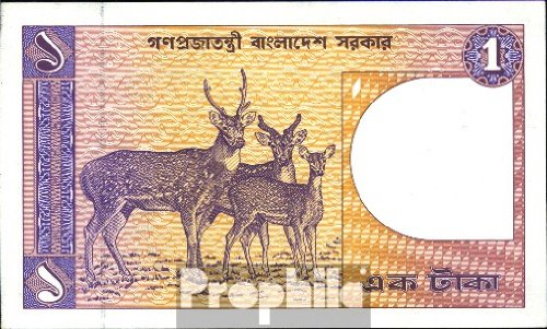 billetes para coleccionistas: Bangladesh Pick-No.: 6B unc 1984 1 Taka Deer Prophila