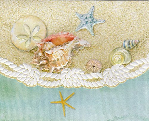 Carol Wilson Sea Shells on Beach 10 ct Embossed Note Card Set For Arts Sake by Carol Wilson