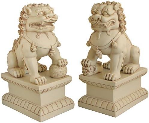Cultural Element Asian Foo Dogs Garden Pair Statue