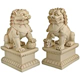 Cultural Element Asian Foo Dogs Garden Pair Statue with Stone Finish | Pair of Two Guardian Lions | Garden Decor | Indoor Outdoor Placement | Show Piece | Feng Shui Decor