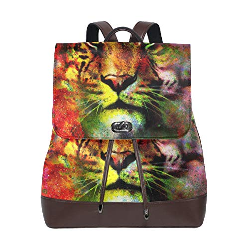 PU Leather School Backpack Art Colorful Magical Space Tiger drawstring for Travel Rucksack Daypack Casual Duffel Shoulder Bag
