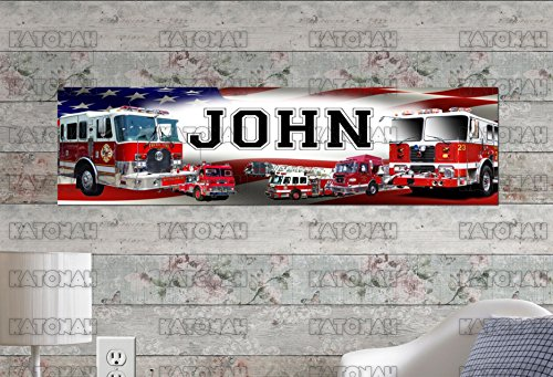 Customized Name Painting Fire Trucks Poster With Your Name On It Personalized Banner Fire Truck Painting