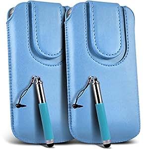 N4U Online - Sony Xperia Miro PU botón magnético tire del cable cubierta de la caja de la bolsa del tirón Tab y retráctil Stylus Pen (doble) - bebé azul