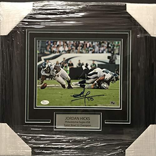 (Framed Autographed/Signed Jordan Hicks Tony Romo Hit Philadelphia Eagles 8x10 Football Photo JSA COA)