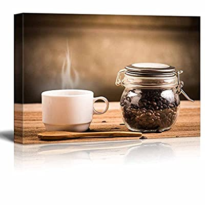 Canvas Prints Wall Art - Coffee Cup and Saucer on a Wooden Table. Dark Background - 24