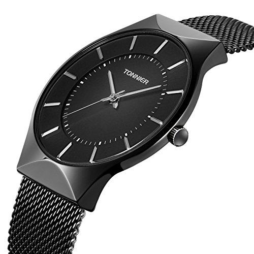 Tonnier Men Watches Black Ultra Thin Stainless Steel Mesh Strap Quartz Watch for Men from Tonnier
