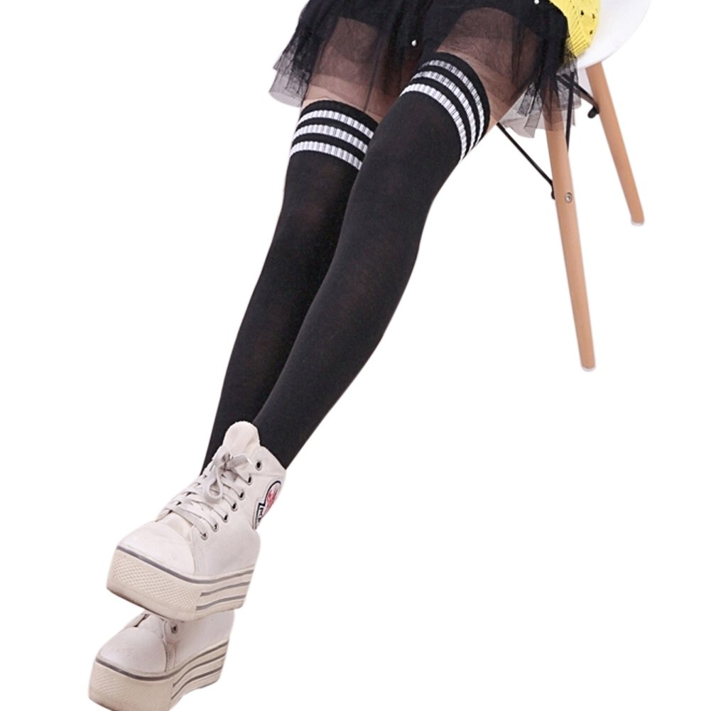 766259c4cfbf5 Amazon.com: EUBUY Women Girl's Over the Knee Extra Long Soccer Rugby Socks  Thigh High Stockings Sports Tights with Classic Triple Stripes Black+White:  ...