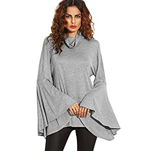SheIn Women's Cowl Neck Split Back Bell Sleeve Sweatshirt