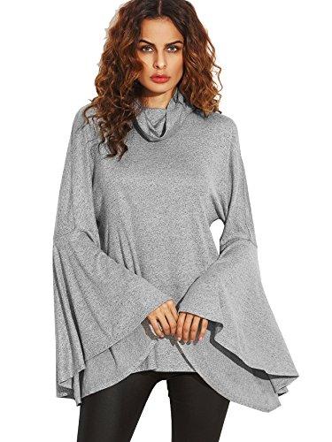 SheIn Women's Cowl Neck Split Back Bell Sleeve Sweatshirt - Grey Medium