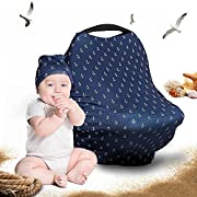 Cool Beans Baby Car Seat Canopy and Nursing Cover | Multiuse - Soft and Stretchy Fabric Easily Covers High Chairs, Shopping Carts, Car Seats | Bonus Infant Baby Beanie and Bag (Anchors on Blue)