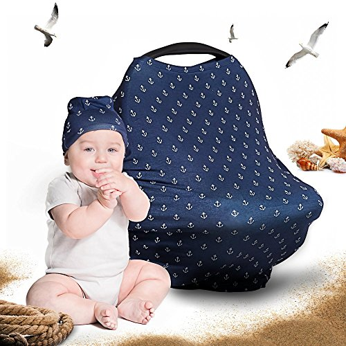 Price comparison product image Cool Beans Baby Car Seat Canopy and Nursing Cover / Multiuse - Soft and stretchy fabric easily covers High Chairs,  Shopping Carts,  Car Seats / BONUS Infant Baby Beanie and Bag (Anchors on Blue)