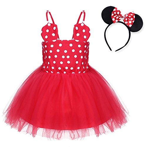[TiaoBug Baby Girls Princess Polka Dots Tutu Dress Party Costume Ear Headband Red 12-18 Months] (Holiday Recital Costumes)