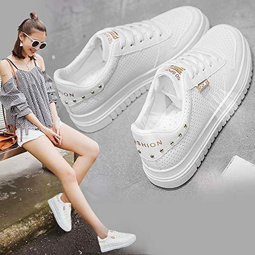 White de Sizes Sneakers pequeño Treinta Casuales Artificial más Zapatos Zapatos Mujer Poco de Un Joker Thirty Mujer Siete WFCAYDHN y Zapatos PU eight 75IqOx