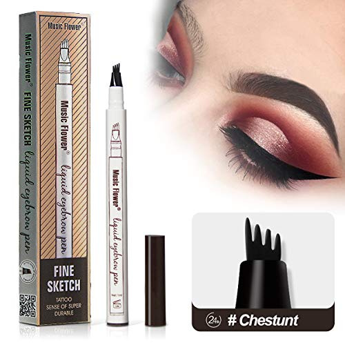 Microblading Tattoo Eyebrow Pen with Four Tips,Waterproof Ink Gel Tint Drawing Eyebrow Pencil,Long Lasting Smudge-Proof Natural Hair-Like Defined Brows All Day (Chestnut)