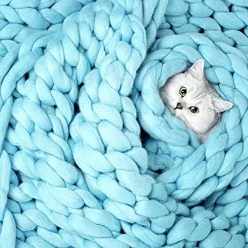 Han Shi Knitted Blanket, Soft Thick Hand-Made Yarn Bulky Knitting Warm Sofa Bed Yoga Mat Rug 100X80cm (Blue, L)
