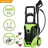 3000 PSI Electric Pressure Washer 1.76GPM, 1800W Rolling Wheels High Pressure Washer Cleaner Machine with Power Hose Nozzle Gun and 5 Quick-Connect Spray Tips