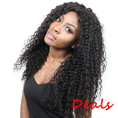 Suerkeep Human Hair Deep Wave Wigs Pre-Plucked 150% Density 8A Glueless 360 Lace Frontal Wig With Baby Hair (Natural Color, 16)