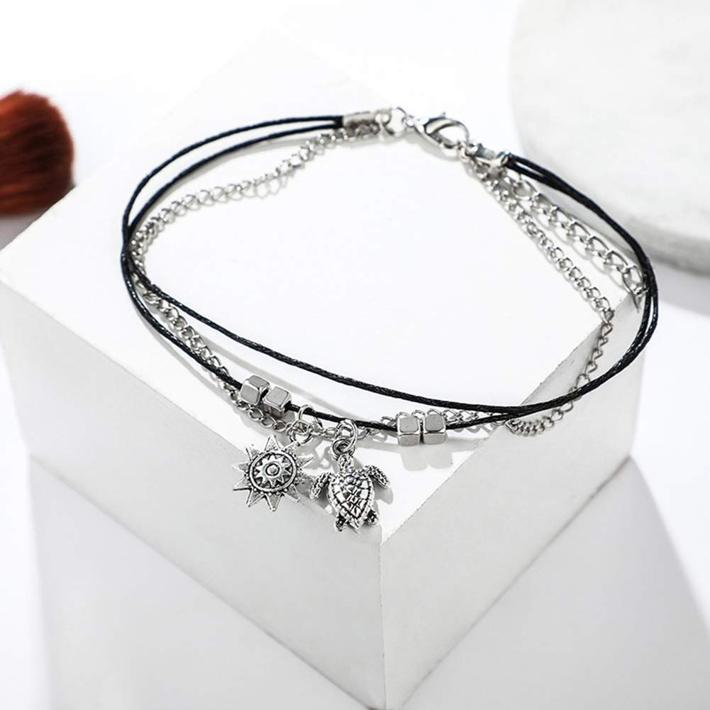 Vektenxi Premium Qualit/ät Frauen Boho Multilayer Turtle Sun Charm Kette Seil Fu/ßkettchen Fu/ß Schmuck Armband