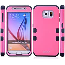 Galaxy S6 Case, S6 Robot Case, Drop Protection Shock Absorption Hybrid Rugged Triple Layer High Impact Armor Defender Full Protective Black Ballistic Light Pink and Black Hard PC & TPU Silicone Skin Cover Case For Samsung Galaxy S6 (Robot Light Pink S6)