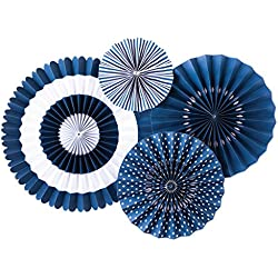 My Mind's Eye Paperlove Party Fans, set of 4 (Navy (Blueberry))