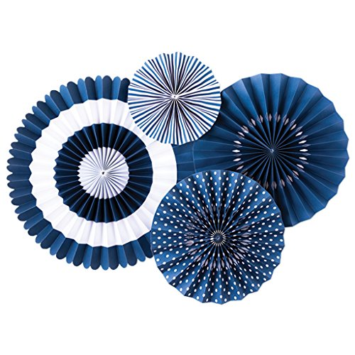 (My Mind's Eye - Fancy Blueberry Navy Paper Party Fans - 4 Count -)