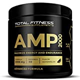 Total Fitness Supplements AMP 2000 Pre Workout Powder with Nitric Oxide Boost, CarnoSyn Beta Alanine, Explosive Energy, Endurance, Strength, Watermelon, Muscle Builder for Workout Training, 30 Serving