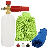Kyпить PROFESSIONAL Foam Cannon Car Wash - Snow Adjustable KIT HIGH PRESSURE Washer 1/4 Quick Release for Pressure Washer Gun Pb Blaster, Cleaning Kit, Microfiber Gloves, Towel and 3 Washer Nozzle на Amazon.com