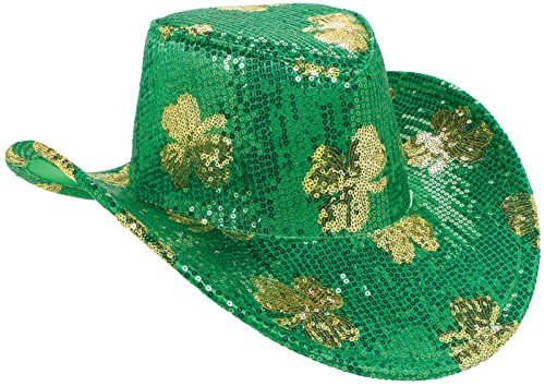 St. Patrick's Day Sequined Cowboy Hat Costume Party Head Wear Accessory (1 Piece), Green, 5