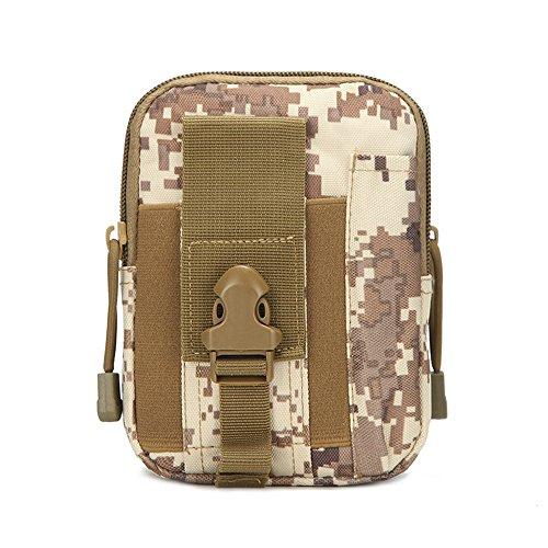 Higoss Military Tactical Waist Pack Phone Pouch Camo Nylon Hiking Waist Pack Gadget Molle Pouch Bag, Khaki